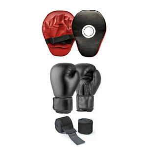 Focus Pads and Boxing Gloves Hand Wraps Set Punching Kickboxing 8oz/10oz