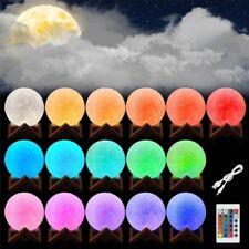 USB LED 3D Moon Night Light Touch Sensor Desk Table Lamp Moonlight Gift Decor