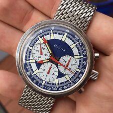 Vintage Bulova Stars And Stripes Valjoux 7736 Steel Chronograph Wristwatch