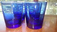 Cobalt Blue Old fashion glasses Whiskey Juice flat bottom glasses 4 12 oz glasse