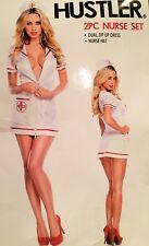 Hustler Sexy Nurse Set Costume Halloween 2 Pc Red White M/L New