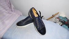 MENS LANVIN NAVY LEATHER LACE-UP SHOES SIZE UK 10
