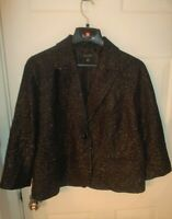 TALBOTS Sz 18 Black Blazer w/ Gold Metallic 2-Button Placket LINED Notch Lapels