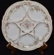 HAVILAND Limoges SCHLEIGER SCH 855A OYSTER PLATE(s) Pink Morning Glory DBL GOLD