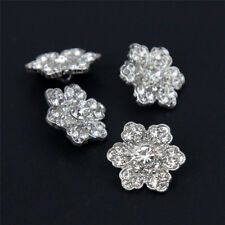 6 Pcs Sparkling Flower Silver Tone Rhinestone Shank Buttons Sewing DIY Crafts