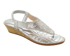 WOMENS SILVER DIAMANTE TOE POST SUMMER HOLIDAY EVENING SANDALS LADIES SIZE 3-8