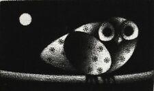 Mario Avati (French 1921-2009) Modernist Mezzotint greeting card Owl Moon signed