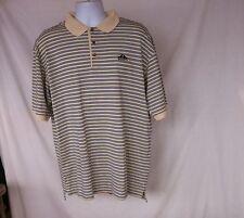 Pringle of Scotland Men's Sz L Yellow & Blue Striped S/S Polo / Golf Shirt