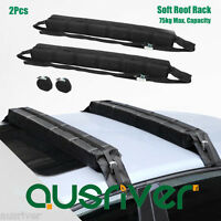 2x Universal Soft Roof Racks Bars 75kg Capacity Kayak Canoe Surfboard Carrier