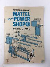 1965 Mattel Power Shop Instructions Manual Booklet Vintage
