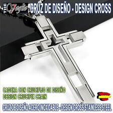 Cruz Collar de Diseño en Acero Inoxidable Cross Necklace Design Stainless Steel