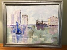 Mid Century Modernist Expressionist Cityscape Harbor  Vintage Oil Painting