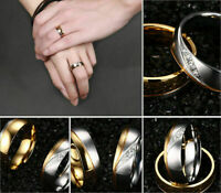 Men/Women 18K Gold Plated CZ Stainless Steel Couple Ring Wedding Band Size 5-13