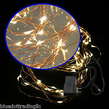 10M 100 LED Copper Wire String Fairy Light Xmas Lamp Adapter Warm White Glowing