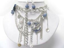 NEW NAUTICAL Crystal ANCHOR WHEEL Pearl Layered NECKLACE EARRINGS Set Silvertone