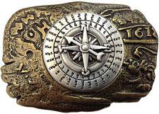 Gürtelschnalle Kompass bicolour gold- / silber