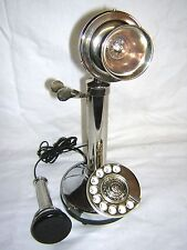 ANTIQUE / VINTAGE LOOK SILVER BRASS CANDLESTICK TELEPHONE ROTARY DIAL PHONE
