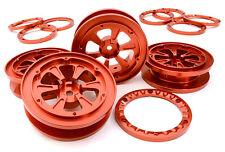 C26841RED Integy 1.9 Size Billet Alloy Wheel(4)w/Beadlock Rings for 1/10 Crawler