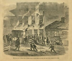 COFFIN FUNERAL FROM A TENEMENT HOUSE IN BAXTER STREET FIVE POINTS NEW YORK POOR