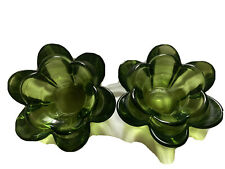 Two Green Glass Flower Tea Light Candle Holders