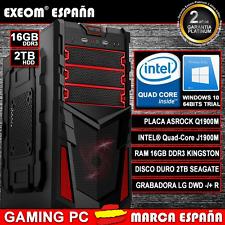 ORDENADOR NUEVO PC GAMING INTEL QUAD CORE 9,6GHz 16GB RAM 2TB HD HDMI USB3.0