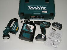 Makita-Akku-Bohrschrauber DDF456RYJ mit 2 Akkus 1,5 Ah u. Lader u. Radiolampe