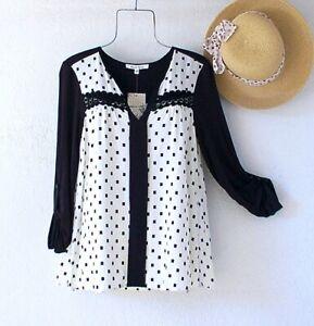 New~Black & Ivory Ditsy Dot Crochet Lace Peasant Blouse Boho Top~Size Small S