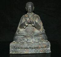 "9 ""Vieux Tibet Rouge Cuivre Bronze Je Tsongkhapa Guru Lama Bouddha Sculpture"