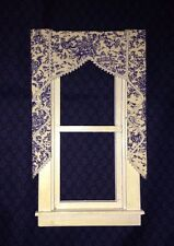"Blue Toile Dollhouse Single Size Curtains - 3 "" W"