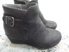 Dansko Shirley 39 / 8- 8.5 Black Nubuck Leather Wedge Ankle Boots