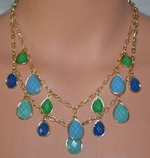 "New Sofia Vergara Blue/Green Tear Drop GoldTone Multi Chain Pendant 18"" Necklace"