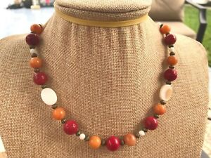 Necklace of Red Coral, Orange Quartz, White MOP Shell, and Bronze Tone Beads