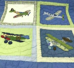 Pottery Barn Kids Air Planes Pillow Sham Square Quilted Blue Red Green Brown