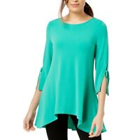 ALFANI NEW Women's Asymmetrical Tie-sleeve Swing Blouse Shirt Top TEDO