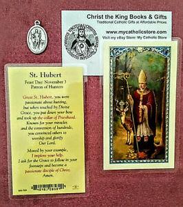 ST HUBERT PATRON SAINT OF HUNTERS LAMINATED HOLY CARD & MATCHING MEDAL GIFT SET