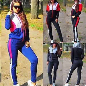Damen Jogginganzug Sportanzug Kapuze Pullover Fitness Hose Trainingsanzug 2tlg