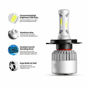 H4 9003 LED Headlight Conversion Bulbs 1200W 180000LM Lamps Hi/Lo Beam 6500K X1