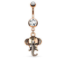 14g Rose Gold Clear Top CZ Dangle Elephant Navel Belly Ring Body Jewelry