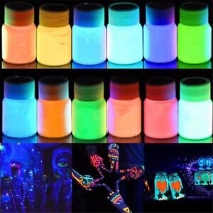 8 Colors Glow in the Dark Pigment Photo Luminescent 20g Pigment DIY S240