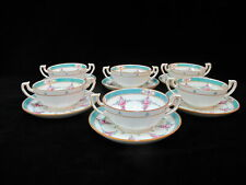 MINTON Older China Set of 6 PERSIAN ROSE Bouillon Soup Cups & Saucers