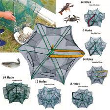 Foldable Fishing Shrimp Fish Crab Yabbie Bait Net Trap Cast Dip Cage 12/16 Holes