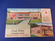 Park Motel Cronk's Cafe Denison,Iowa Vintage Colorful Postcard Pc14