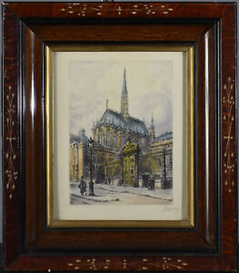 Old signed European Print of Cathedral Church in Victorian Wood Frame - Burosz?