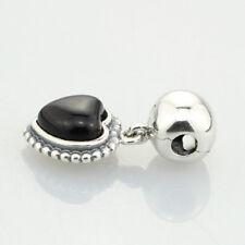 .925 Sterling Silver Charm Black heart pendant clip European Pandora
