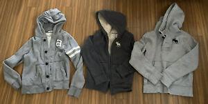 Abercrombie BOYS hooded  SWEATSHIRT hoodie Medium Large Jackets lot/3 Gray