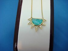 "DOVES BY DORON PALOMA 18K GOLD AMAZONITE AND DIAMONDS HALF SUN NECKLACE,16""-18"""