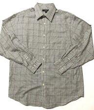 Sean John Shirt XL Casual Wear Green Brown Plaid Long Sleeve Button Down