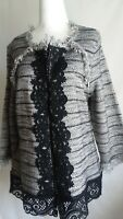 Chico's Sz 2(L) Lace Tweed Cardigan Sweater W/ Fringe 3/4 Sleeve Blk/White NWT