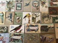 Nice ~Lot of 25 Antique Greetings Postcards with *BIRDS~Bird-in sleeves--a80