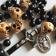 Old Tibet oxen Bone Skull Black Wood Ebony Bead Rosary Necklace & Cross
